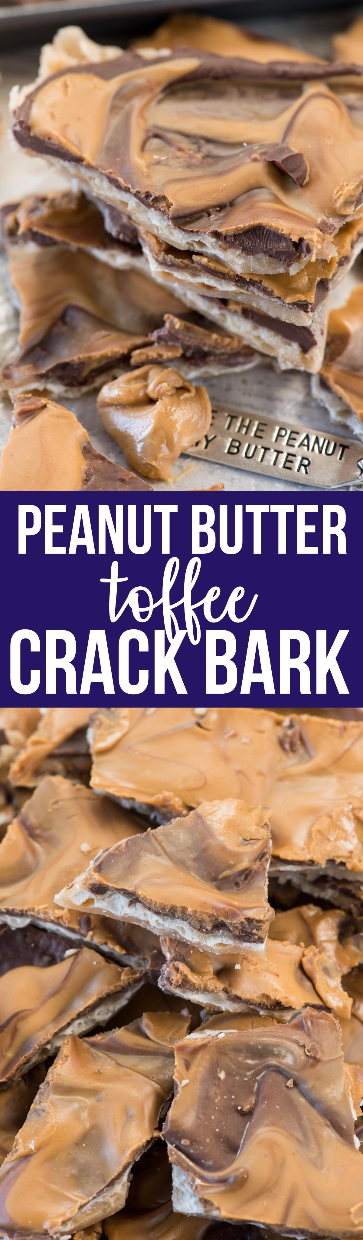 Peanut Butter Toffee Bark - this is the perfect crack bark recipe! Homemade toffee is baked on matzo crackers and topped with lots of chocolate and peanut butter. It's pure heaven and EVERYONE raves about it.