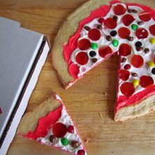 sugar cookie pizza made to look like pizza for April fool's