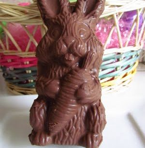 Chocolate Bunny In Front of an Easter Basket