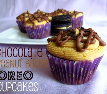 Chocolate Peanut Butter Oreo Cupcakes On a Serving Platter
