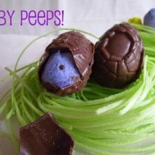 Chocolate Baby Peeps in Grass