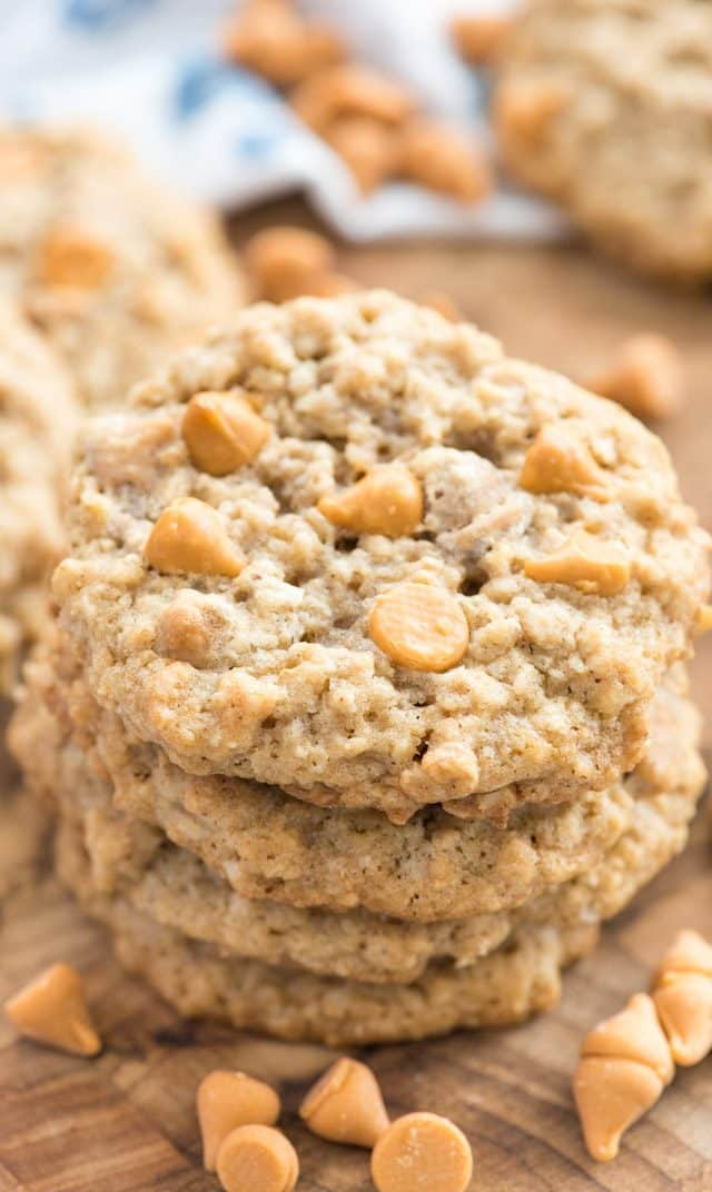 stack of oatmeal scotchie cookies