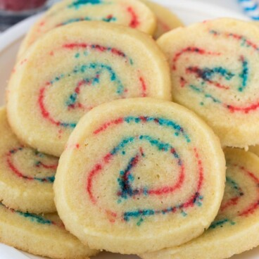 spiral cookies with red and blue sugar