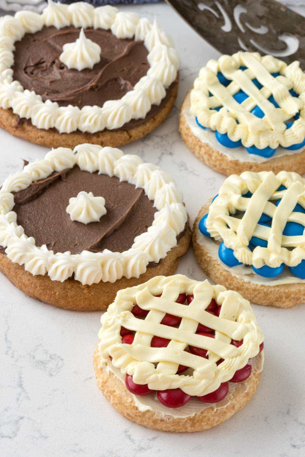 Easy Pie Cookies Recipe - chocolate cream, cherry, and blueberry pie cookies.