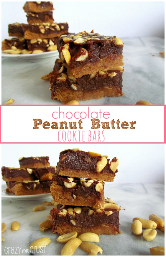 chocolate peanut butter cookie bars collage with peanuts on marble slab