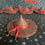 witch hat cookies - chocolate pinwheel cookie upside down with hersheys kiss and red frosting bow