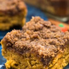 slice of pumpkin coffee cake on blue plate