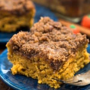 slice of pumpkin coffee cake on blue plate