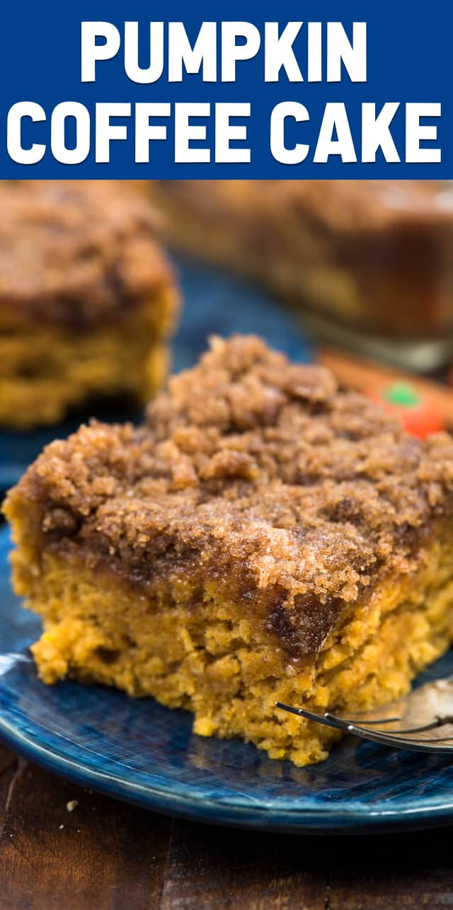Pumpkin Coffee Cake is my mom's coffee cake made with pumpkin for fall breakfast. It has a thick and crunchy streusel on top! We could not stop eating this pumpkin coffee cake recipe! #pumpkin #coffeecake #fallbaking