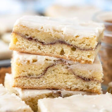 stack of snickerdoodle bars on cutting board
