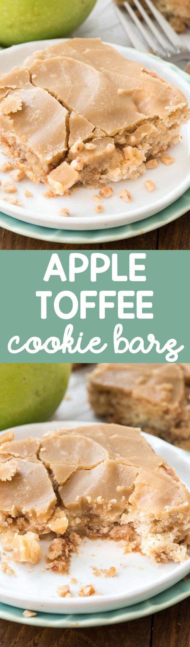 Apple Toffee Bars on a white plate with cracked caramel frosting and fork behind collage with words