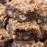 Pecan Pie Brownies Recipe - this plate of chocolate brownies have a gooey pecan pie topping.