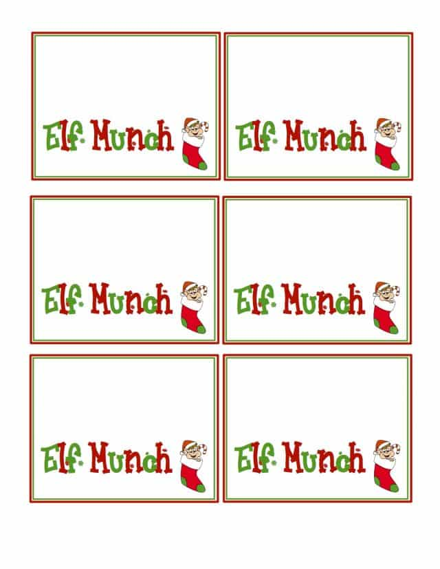 Elf Munch Printable Tags