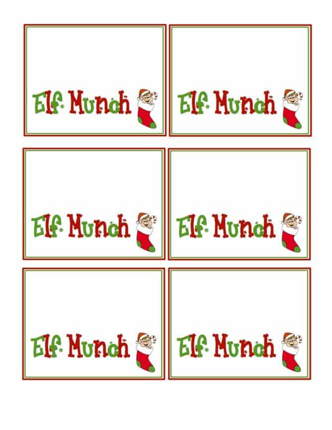 Elf Munch Printable Tags