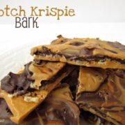 scotch krispie bark on white plate