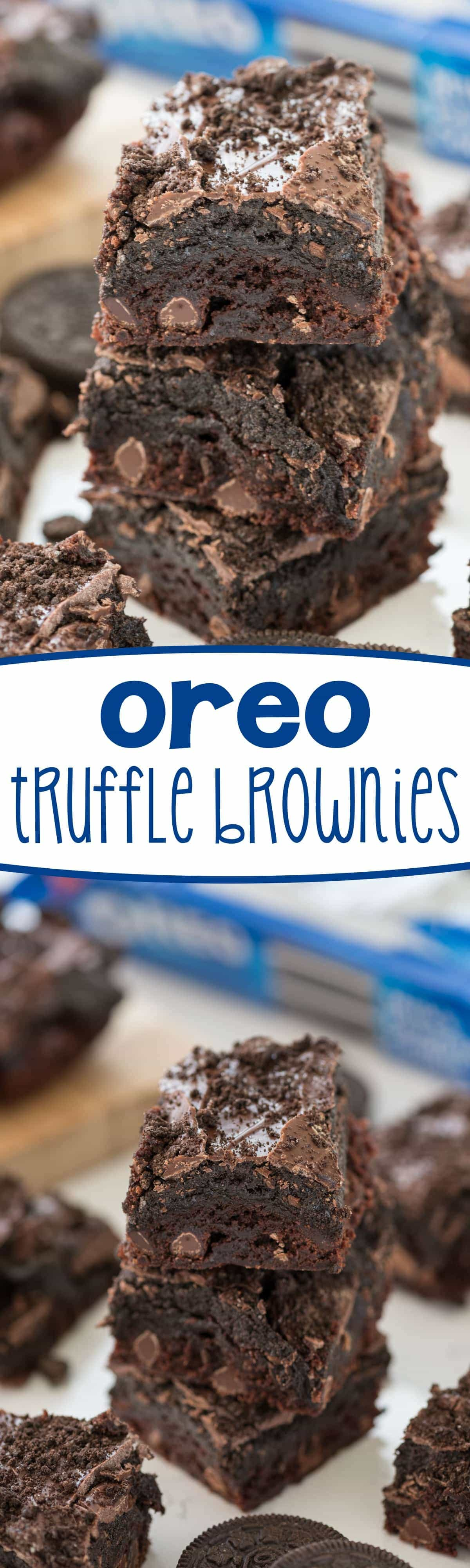 Oreo Truffle Brownies - this easy brownie recipe is the BEST! Don't roll the Oreo truffles, press them on top of brownies for a chocolatey fudgy treat!