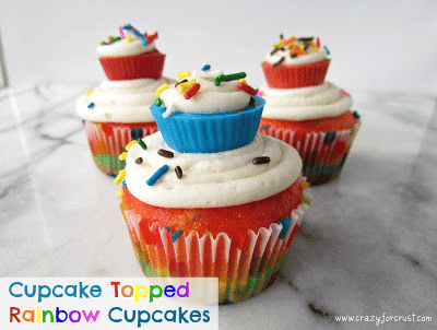 Cupcake Topped Rainbow Cupcakes by crazyforcrust.com