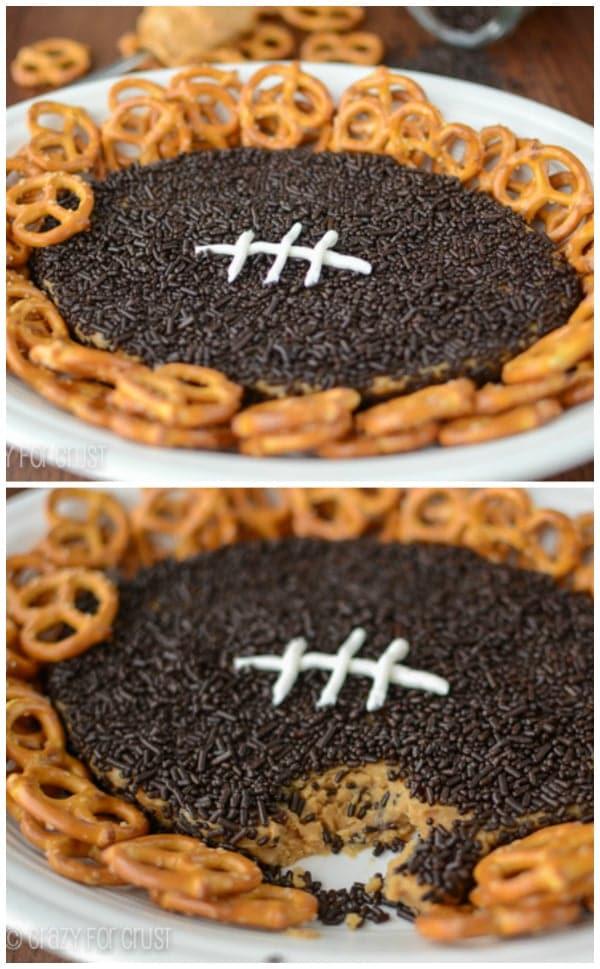 Peanut Butter Football Dip | www.crazyforcrust.com | The original peanut butter football dip! #football #dip #peanutbutter