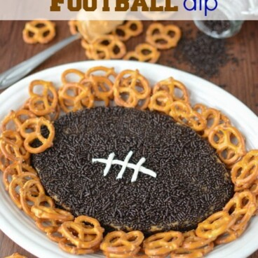 overhead shot of football dip on plate with pretzels
