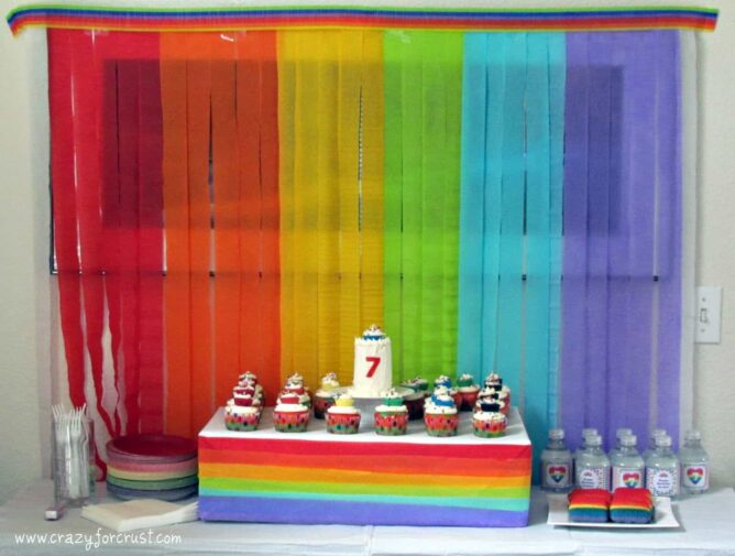 rainbow birthday party cake table with rainbow background