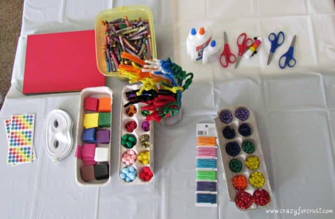 rainbow birthday party craft table