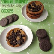 chocolate chip cookies with thin mint cookie chunks on top on white plate with thin mint cookies around on green paper