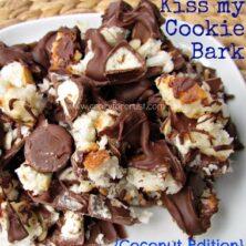 jumble of chocolate macaroons and Hershey's kisses