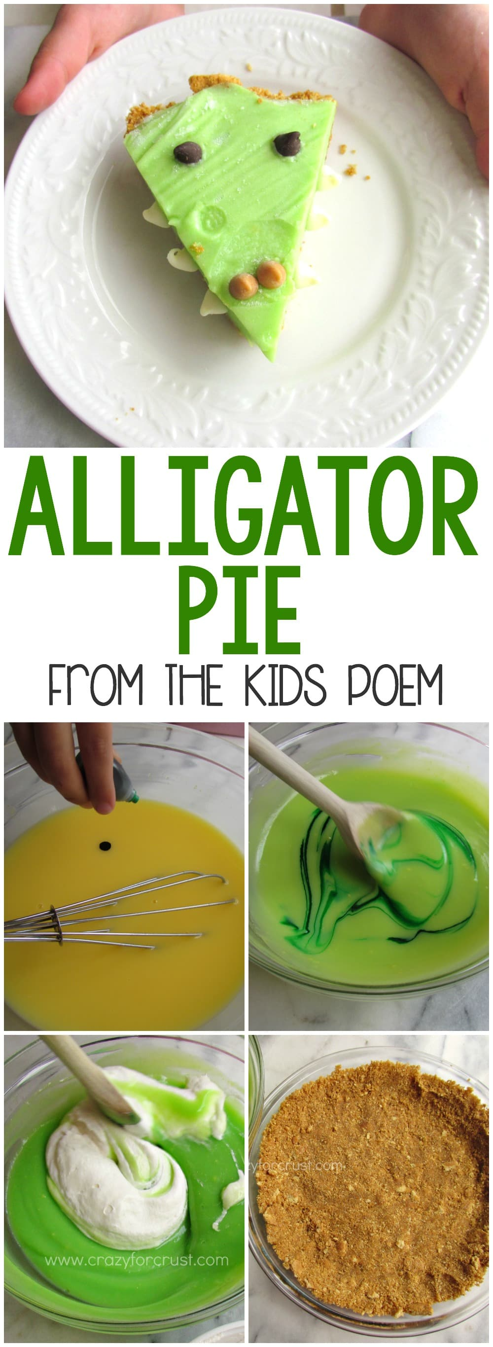 Alligator Pie - this easy no-bake pie recipe is from the popular kids poem! The kids can make this themselves and it's a fun way to teach the song!