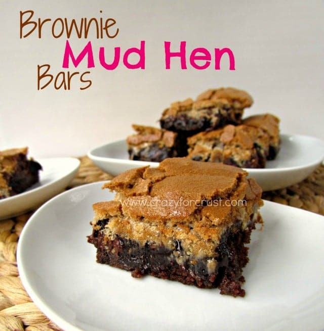 Brownie Mud Hen Bars on a white plate with title