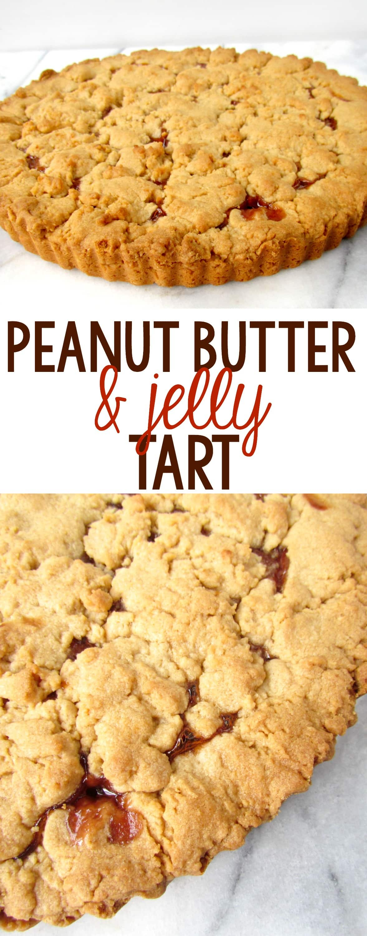 This Peanut Butter and Jelly Tart is the BEST pie! It's a huge peanut butter cookie recipe filled with jelly. PB&J lovers will love this pie!