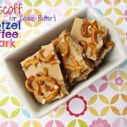 biscoff pretzel toffee bark overhead photo in white dish