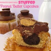 Chocolate Cake Ball Stuffed Peanut Butter Cupcakes with title