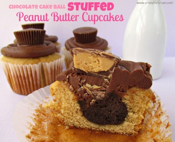 Chocolate Cake Ball Stuffed PB Cupcakes
