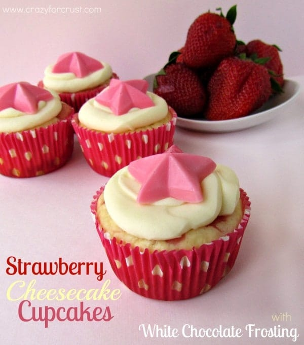 Strawberry Cheesecake Cupcakes with White Chocolate Frosting - Crazy ...