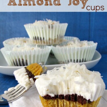 almond joy cup on white napkin with fork and bite missing