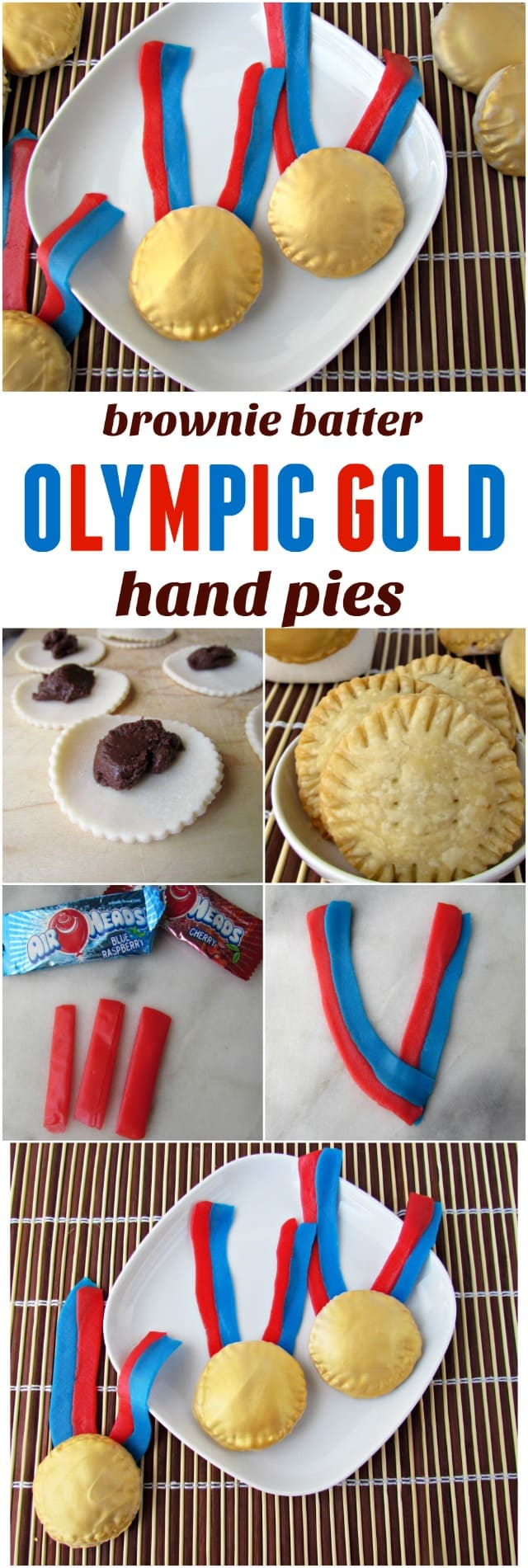 "Olympic Gold Medal Brownie Batter Hand Pies - this easy hand pie recipe is filled with brownie batter and then decorated like a gold medal! Use gold edible spray to paint the ""medals"" and airheads to make the straps!"
