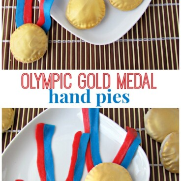 collage of hand pies decorated like olympic gold medals