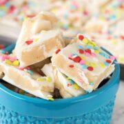 Sugar Cookie bark in blue bowl