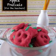 Caramel apple pretzels with title