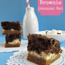 smores brownies on white doily with blue background