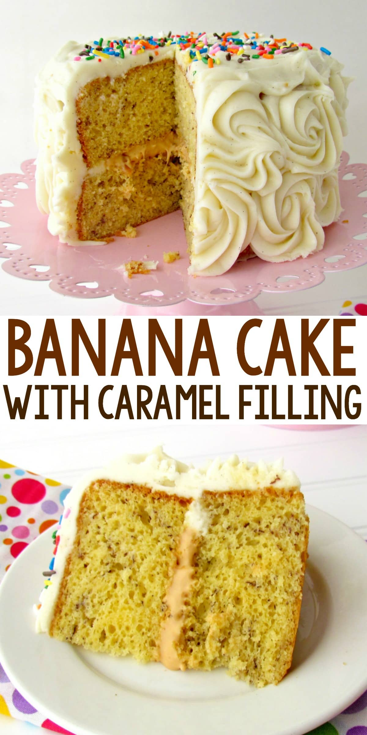 The BEST Banana Cake with Caramel Filling - the filling is caramel ganache! Use simple caramels and heavy cream to make a great filling for any cake or cupcake!
