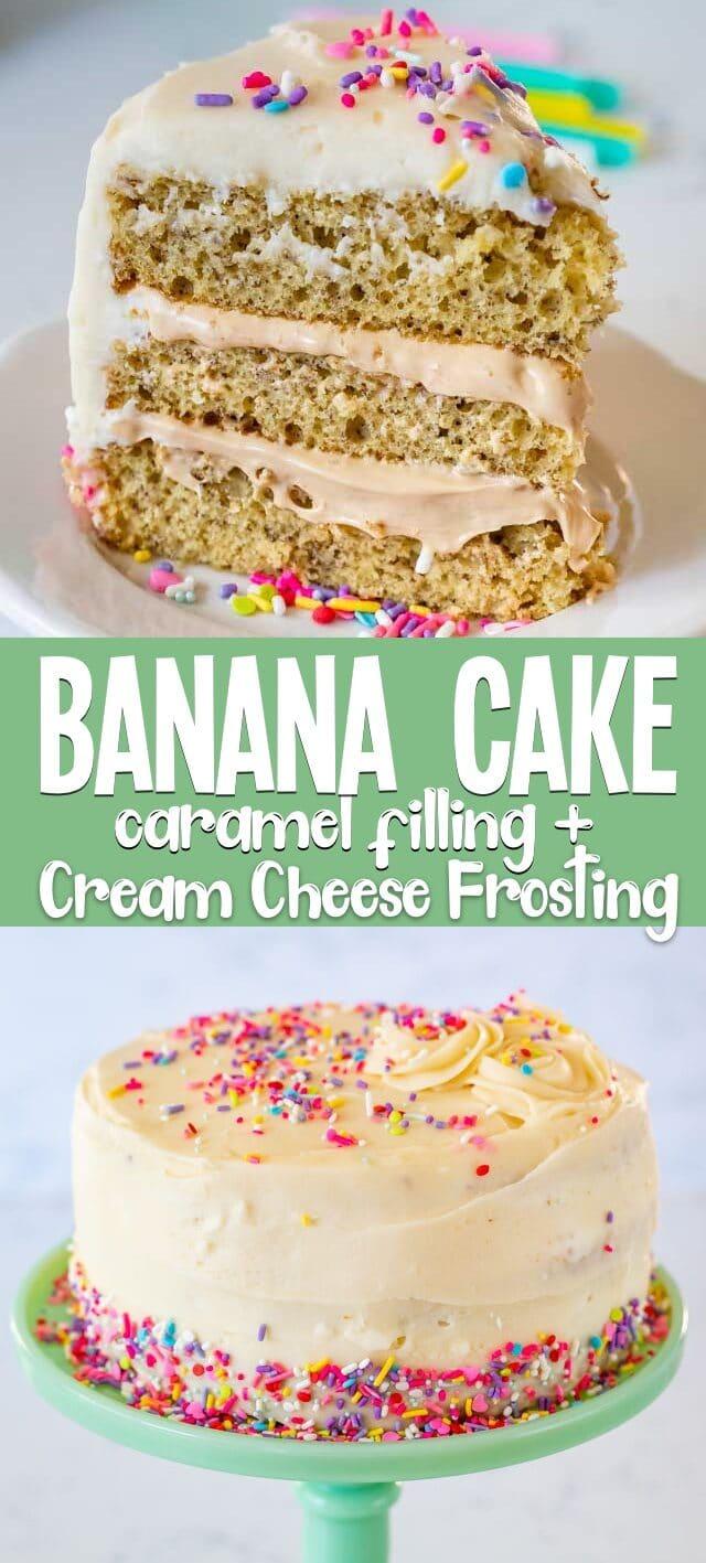banana cake collage photo