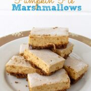 Pumpkin Pie Marshmallows on white plate with words on photo