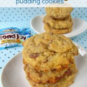 Almond Joy Pudding Cookies on a white plate with title
