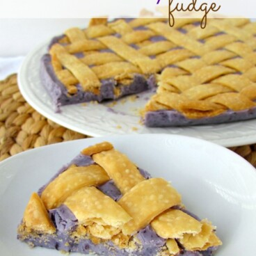 Blueberry pie fudge with a slice taken out and title