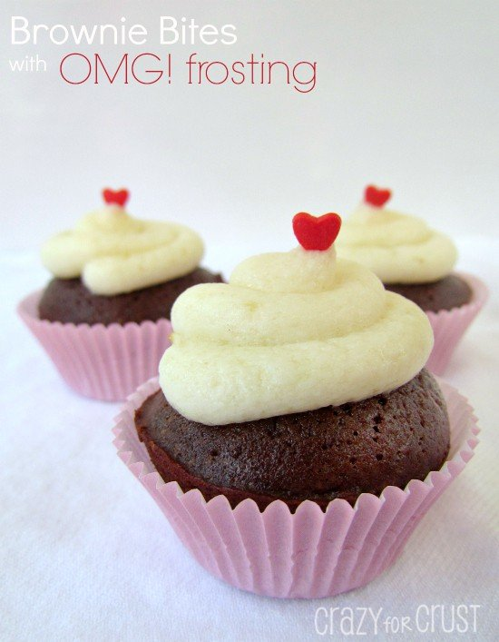 Brownie Bites with OMG! Frosting | crazyforcrust.com | #brownie