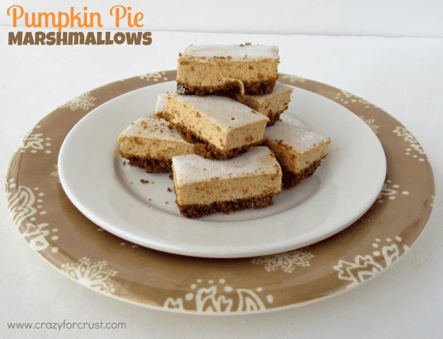 Pumpkin Pie Marshmallows on white plate
