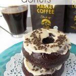 triple mocha donuts on doily on blue plate with coffee in background and words on photo