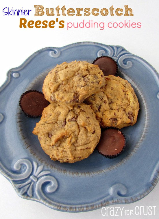 Skinnier Butterscotch Reese's Pudding Cookies on blue plate