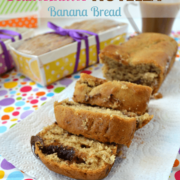 Fluffernutter Nutella Banana Bread loaf sliced up and graphic image title at the top.